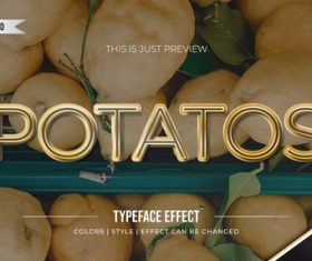 Potatos editable font effect text illustration vector