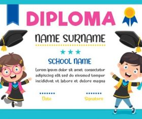 Primary School Diploma Blue Background Vector