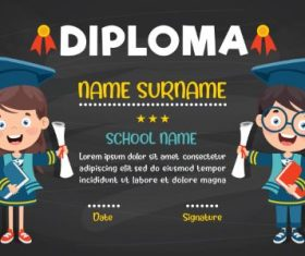 Primary School Diploma Dark Background Vector