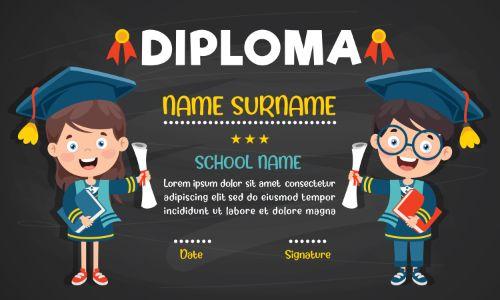 Primary School Diploma Dark Background Vector