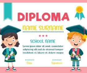 Primary School Diploma Pink Background Vector