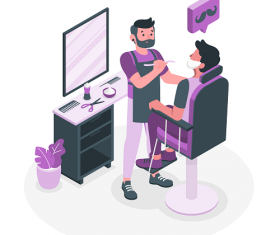 Purple Barber Shop Background Vector
