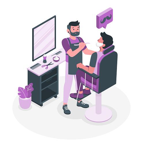 Purple Barber Shop Background Vector