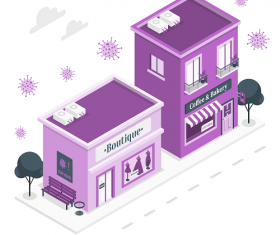 Purple Boutique Shops and Building Background Vector