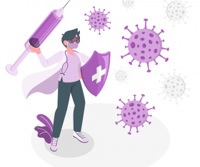 Purple Doctor Fighting Virus Vector