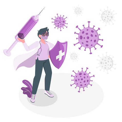 Purple Doctor Fighting Virus Vector
