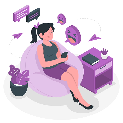 Purple Girl Sitting While Using Cellphone Vector