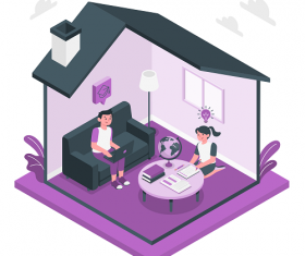 Purple House with Girl and Boy Vector