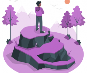 Purple Man Standing on the Rock Background Vector