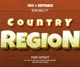 REGION editable font effect text vector