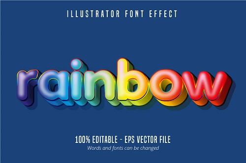 Rainbow Text Effect Font Vector