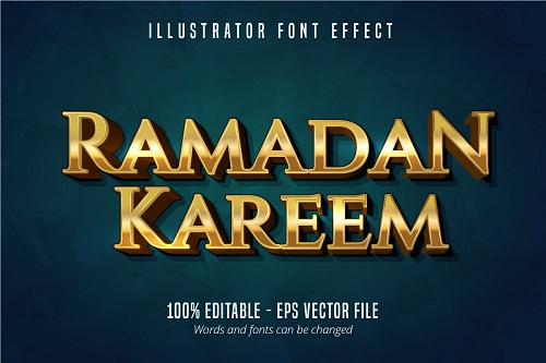 Ramadan Kareem Text Effect Font Vector