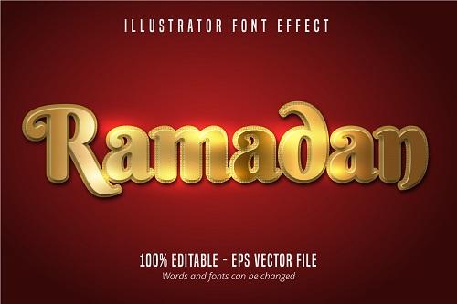 Ramadan Text Effect Font Vector