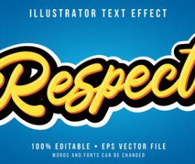 Respect editable font effect text illustration vector