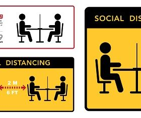 Restaurant Social Distance Sign Vector