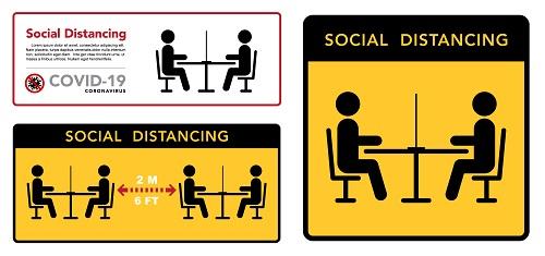 Restaurant Social Distance Sign Vector