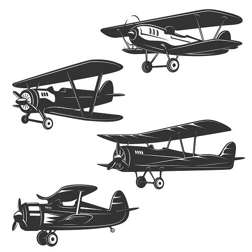 Retro Style Planes Vector