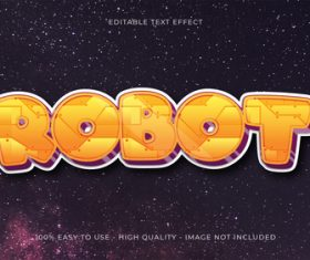 Robot editable font effect text vector
