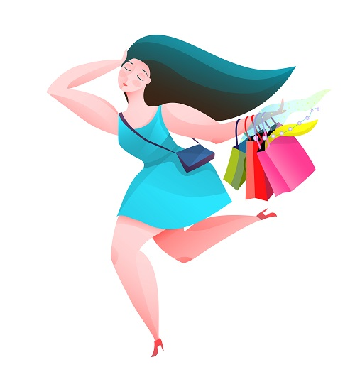 Running Woman With Shopping Bags Vector