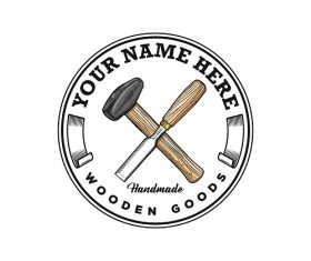 Rustic Hand Drawn Hammer and Chisel Logo Template