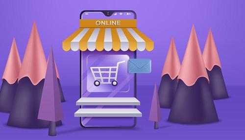 Shopping Online on Website Vector
