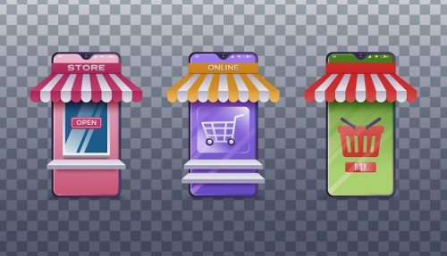 Shops and Stores Icons Set Vector