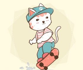 Skate Board Cat Vector