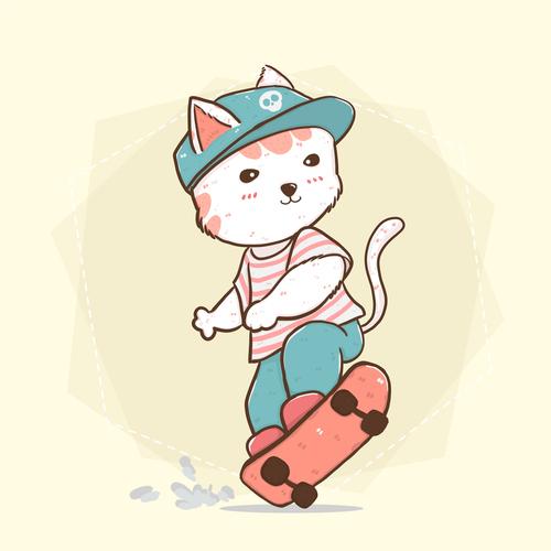 Skateboarding cat cartoon vector