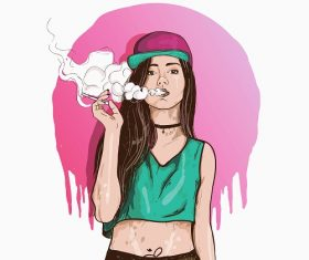 Smoking Young Girl Vector