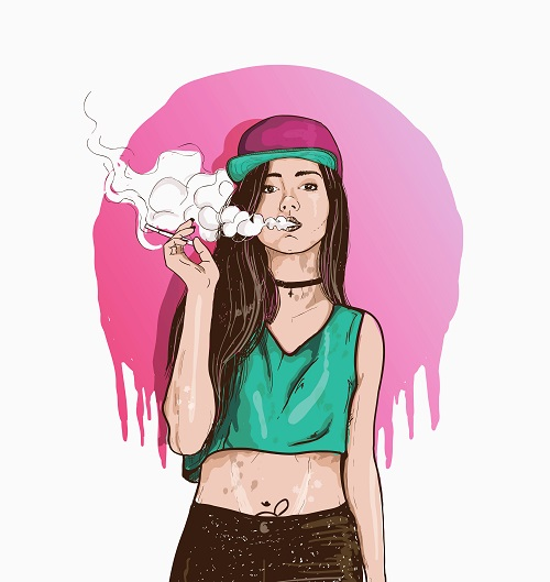 Smoking Young Girl Vector