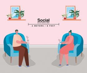 Social Distancing Between Woman and Man Vector