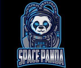 Space panda mascot esport logo vector