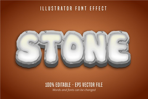 Stone Text Effect Font Vector