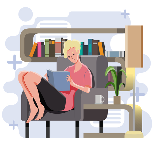 Studying at home vector