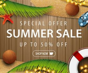Summer Sale Banner with Beach Background Vector