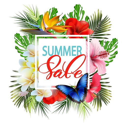 Summer Sale Tropical Poster Vector