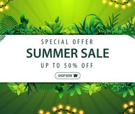 Summer sale up to 50% off  Green Background Vector