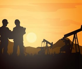 Sun Rise Men Working in Oil Industry Silhouette Vector