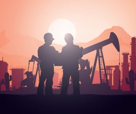 Sun Set Men Working in Oil Industry Silhoutte Vector