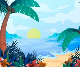 Sunrise Beach Background Vector