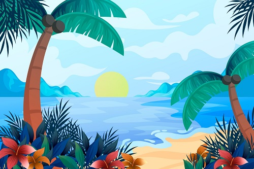 Sunrise Beach Background Vector