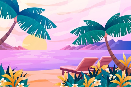 Sunset Beach Background Vector