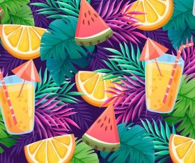 Tropical Fruit and Drinks Background Vector