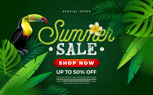 Tropical Summer Sale Poster Vector
