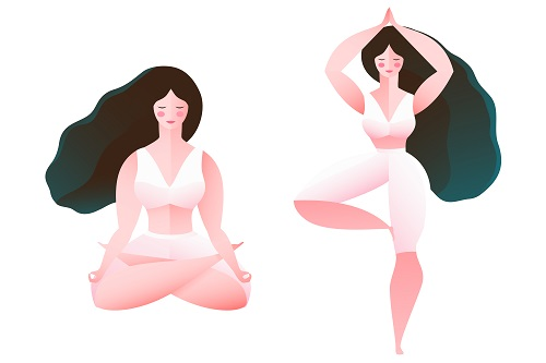 Two Beautiful Woman Doing Yoga Vector