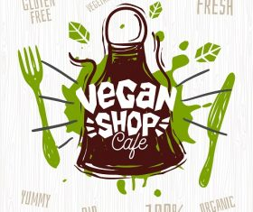 Vegan Shop Cafe Banner Vector