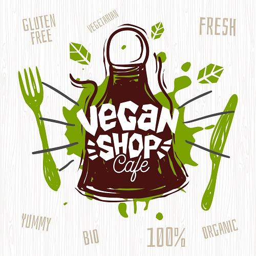 Vegan Shop Cafe Banner Vector