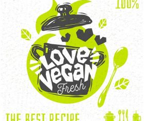 Vegan Soup Heart Logo Banner Vector
