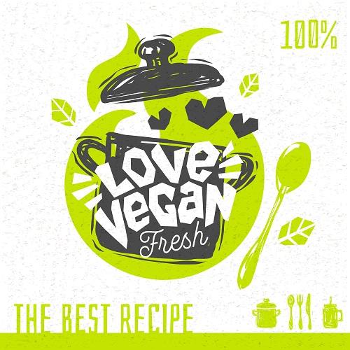 Vegan Soup Heart Logo Banner Vector
