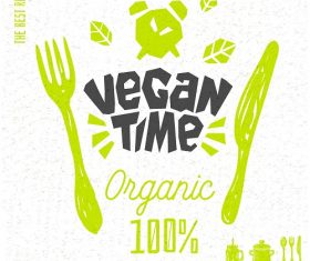 Vegan Time Logo Poster Vector
